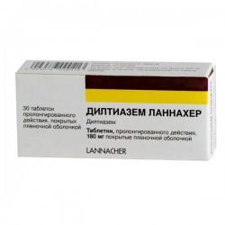 Дилтиазем Ланнахер, табл. пролонг. п/о пленочной 180 мг №30