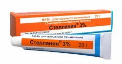 Стелланин по цене от 383,50 рублей, купить в аптеках Новосибирска, мазь д/наружн. прим. 3  г туба Диэтилбензимидазолия трийодид